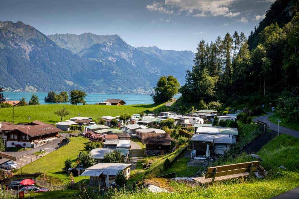 Camping Du Lac - Iseltwald, Switzerland: located just above the picturesque fishing village of Iseltwald at Lake Brienz.