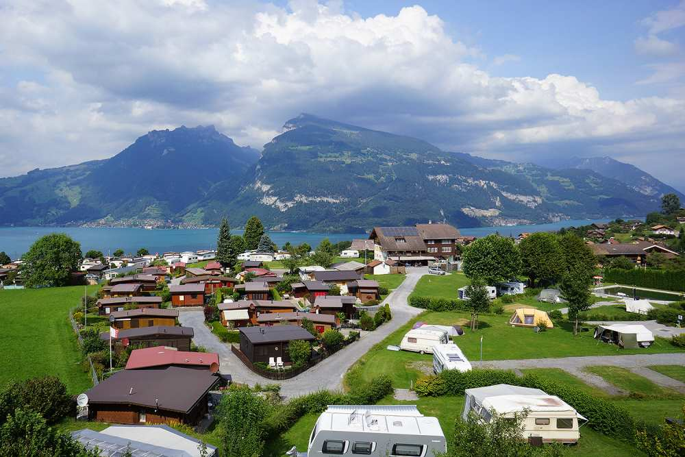 Camping Stuhlegg - Krattigen near Interlaken, Switzerland: quiet campsite offering beautiful views of Lake Thun.